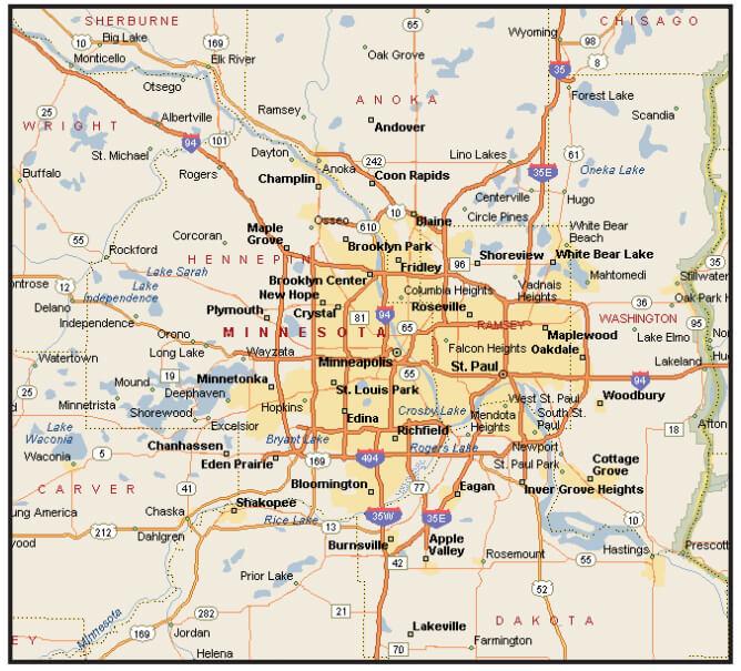 Transportation Plus transportation service area map of Minneapolis-St. Paul metro area
